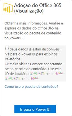 Escolha Ir para o Power BI no cartão de Adoção do Office 365