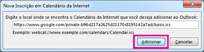 Inscrição de calendário da Internet