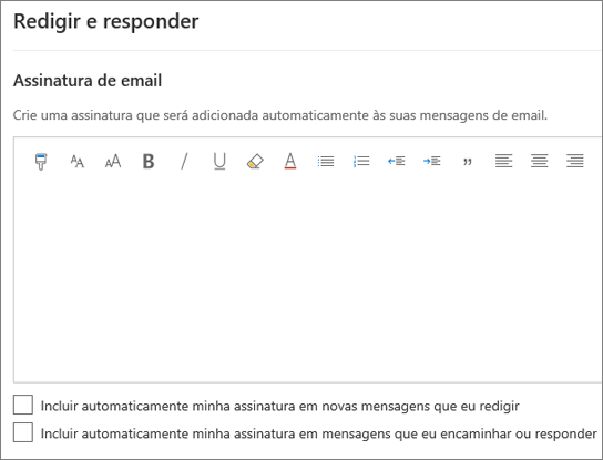 Criar uma assinatura de email no Outlook na Web