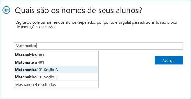Captura de tela que mostra como adicionar grupos no aplicativo Bloco de Anotações de Classe.
