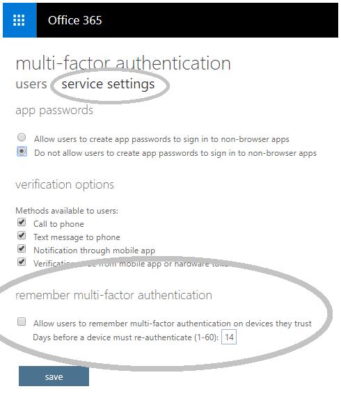 Os detalhes de opção de autenticação de multifatores lembrar