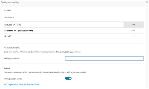 Captura de tela: alterar a taxa de IVA nas configurações