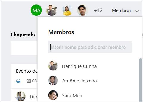 Captura de tela: mostrando que conforme você digita o nome do convidado, planejador identifica o convidado.