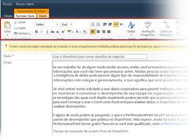 Editor de Rich Text para criar blogs
