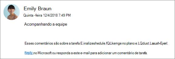 Captura de tela: mostrando um email de grupo em que um colega de trabalho está respondendo ao primeiro comentário.