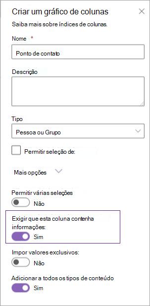 Opções de criação de coluna