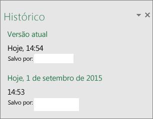 Painel Histórico no Excel 2016 para Windows