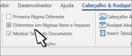 Botão de Par e Ímpar selecionado na faixa de opções do cabeçalho