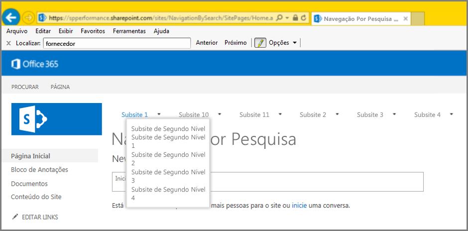 Captura de tela dos resultados de navegação
