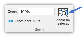 Captura de tela do botão zoom na seleção, que está na guia Exibir da faixa de opções.