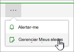 Botão de alertas do SharePoint Online gerenciar realçado