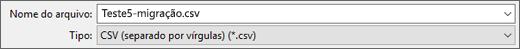 Mostra a opção Salvar Como CSV no Excel