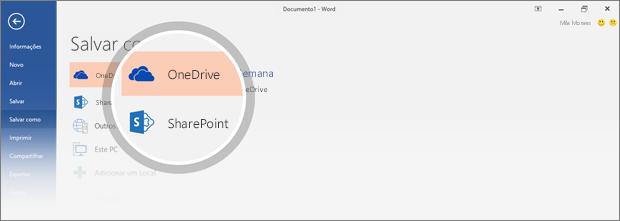 Os locais do OneDrive e do SharePoint em que o documento pode ser salvo são realçados