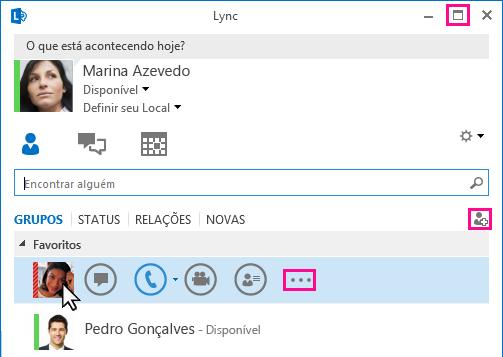 Captura de tela da BARRA LYNC RÁPIDO
