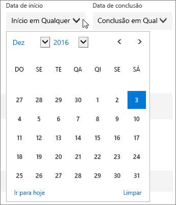 Captura de tela do menu Data de Início expandido para uma tarefa do Planner.