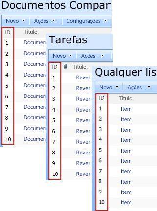 Coluna de identificação que aparecem em várias listas do SharePoint