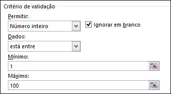 Caixa de diálogo de critérios de validação