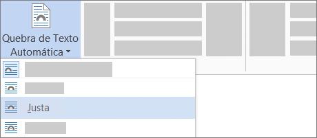 Opção de quebra de texto automática Justa na Faixa de Opções