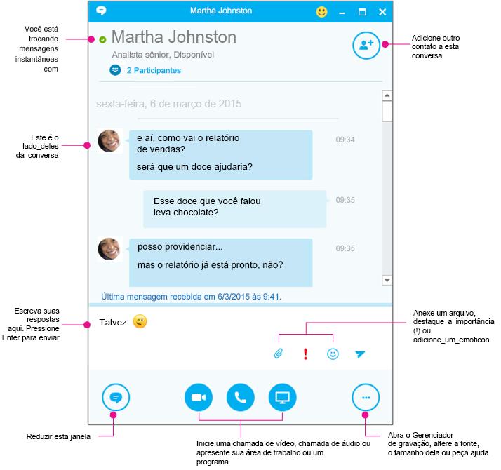 Painel de mensagens instantâneas do Skype for Business IM, diagramado