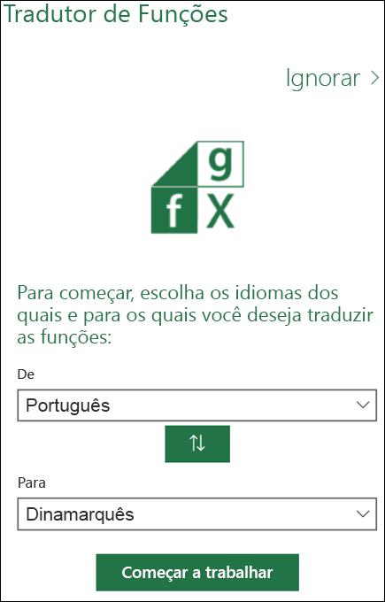 Painel Configurações de Idioma do Tradutor de Funções
