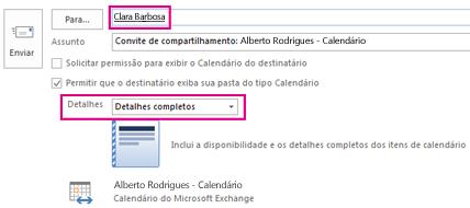 Convite para compartilhar email da caixa de correio internamente - Configuração da caixa Para e Detalhes