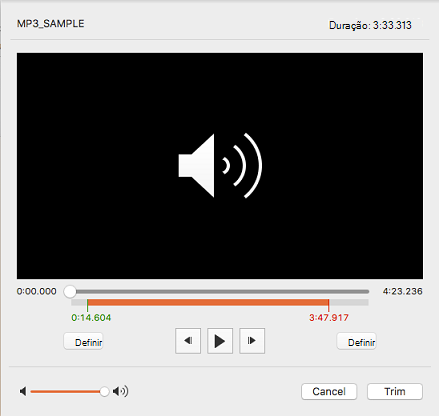 Caixa de diálogo Cortar áudio