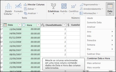 Power Query – Mesclar datas e horas em uma coluna Data/Hora do Editor de Consultas