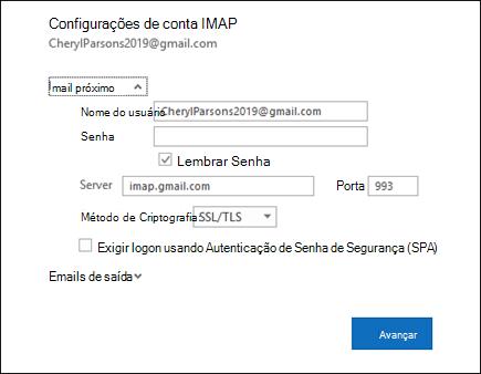 Selecione Configurações do servidor para alterar seu nome de usuário, senha e configurações do servidor.