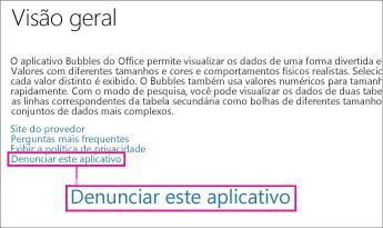 Link de Denunciar Este Aplicativo da Office Store