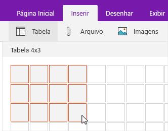 Comando Inserir tabela mostrando a grade de seleção