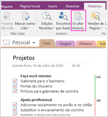 Captura de tela do botão Ocultar Autores no OneNote 2016.