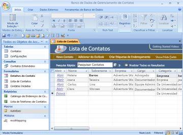 O banco de dados de gerenciamento de contatos