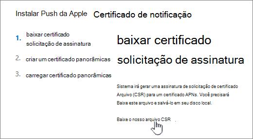 Instalar a caixa de diálogo Certificado APN