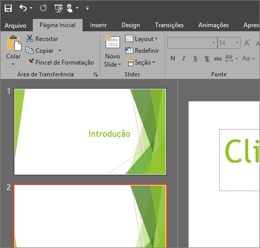 Mostra o Tema Preto no PowerPoint 2016 para Windows