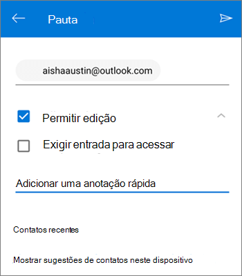 Captura de tela de convidar pessoas para compartilhar um arquivo do OneDrive para Android