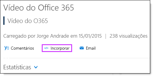 Código de inserção do vídeo do Office 365