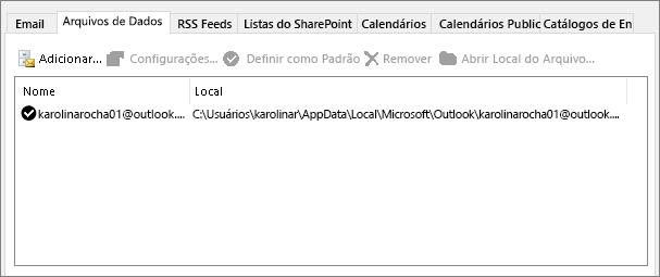 Guia de arquivos de dados para configurações de conta do Outlook que mostra a localização do outlook arquivos de dados para um usuário nomeado