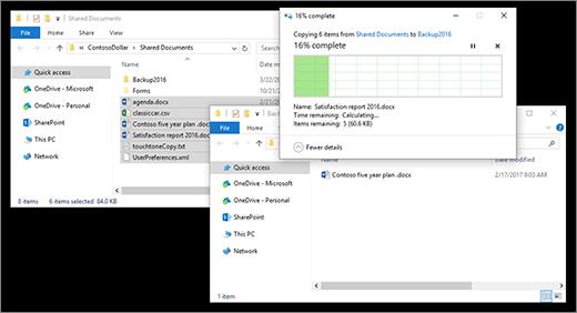 copiando arquivos entre duas janelas do Explorador de arquivos