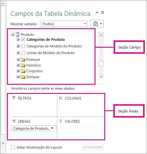 Lista de Campos mostrando campos de dados externos