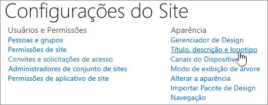 Configurações de site com título, descrição, logotipo selecionado