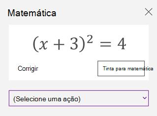 Uma equação matemática no painel de tarefas de matemática