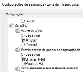 Configurações personalizadas de nível, mostrando a programação permitir acesso de área de transferência