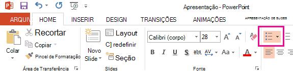O ícone de marcadores é na guia página inicial.