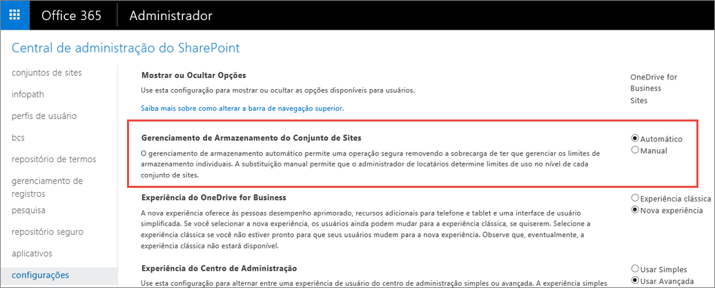 "Tela ""Configurações do SharePoint Online do Office 365"" com ""Gerenciamento do conjunto de sites"" realçado"