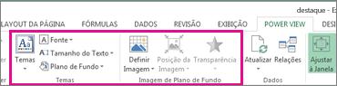 Relatar ferramentas de formatação no Power View