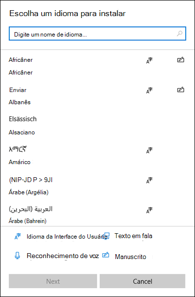 Menu de instalação de idiomas