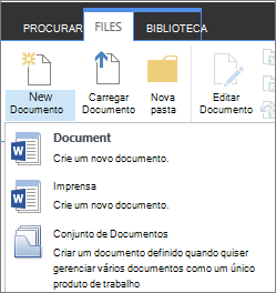 Novo botão de documento com menu suspenso na faixa de opções