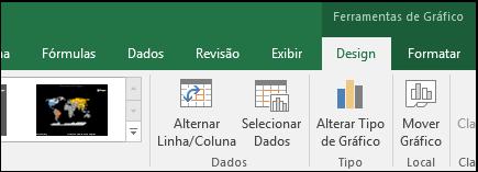 Ferramentas da faixa de opções do gráfico de mapa do Excel
