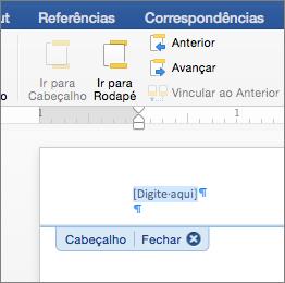 O local em um cabeçalho ou rodapé será mostrado quando você adicionar uma imagem.