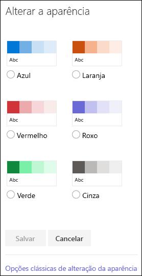Captura de tela mostrando as opções de cores do SharePoint para alterar a aparência do site.